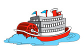 Paddleboat,Steamboat,Vector...