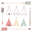 Teepee,Vector,Blue,Pink Col...