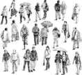 People,Individuality,City,Umbrella,Outdoors,Drawing - Art Product,Crowd,Walking,Stepping,Heterosexual Couple,Street,Modern,Tired,Adult,Young Adult,Cut Out,Urgency,Illustration,City Life,Sketch,Men,Females,Women,Doodle,Vector,White Background,Couple - Relationship,Individual Event