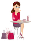 Women,Shopping,Sitting,Cafe...