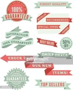 Set of green and red banners and ribbons design elements