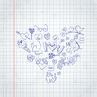 Holiday - Event,Doodle,Note Pad,Design Element,Vector,Sketch Pad,Backgrounds,Pen,Computer Graphic,Sign,Drawing - Activity,Pattern,Valentine's Day - Holiday,Drawing - Art Product,Paper,Symbol,Illustration,Design,Outline,Heart Shape,Collection,Sketch,Striped,White Color,Love - Emotion,Day