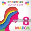 International Women's Day multicolor graphic for a card