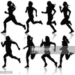 Eight black female silhouettes running