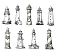 Lighthouse,Sketch,Beacon,Se...