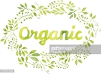 Word Organic in floral wreath with branches and leaves