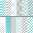 Pastel polka dot and chevron pattern set
