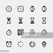Vector time and timepieces mini icons set