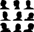 Internet,People,Black Color,Icon Set,Cut Out,Group Of People,Vector,Human Body Part,Silhouette,Men,Profile View,Women,Human Joint,Adult,Shoulder,Males,Human Face,Illustration,Females,Outline,Avatar,Human Head,Black And White,Unrecognizable Person