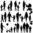 silhouettes of parents and children