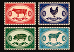 Cutting,Beef,Cow,Meat,Retro...