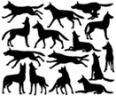 Howling,Dog,Wolf,Silhouette...