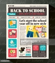 Back to School Sales Promotional Design Template in Newspaper style