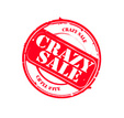 "Red retro round grungy rubber stamp ""Crazy Sale"" vector"