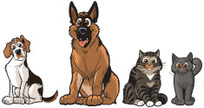 Dog,Animated Cartoon,Cartoon,Domestic Cat,German Shepherd,Sitting,Happiness,Characters,Cheerful,Canine,Cute,Pencil Drawing,Vector,Clip Art,Ilustration,Paw,Fur,Animal,Group Of Animals,Set,Feline,Pets,Painted Image,Friendship,Domestic Animals,Mammal,Puppy,Color Image,Gray Hair,Gray,Tabby,Drawing - Art Product,Art