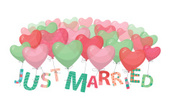 Just Married,Balloon,Heart ...