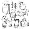 Portability,Clothing,Elegance,Luxury,Shoe,Personal Accessory,Symbol,Dress Shoe,Bag,Jewelry,Telephone,Lifestyles,Black And White,Shopping Bag,Ring,Mobile Phone,Design,Drawing - Art Product,Watch,Eating,Pattern,Modern,Leather,Diamond - Gemstone,Incomplete,Beauty,Shopping,Adult,Outline,Price Tag,Ornate,Wristwatch,High Heels,Paper Bag,Illustration,Line Art,Sketch,Females,Women,Doodle,Vector,Merchandise,Fashion,Collection,Scribble,Wireless Technology,Earring,Clip Art,Fashionable,Luxury Watch
