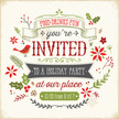 Christmas,Invitation,Retro ...