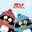 Clothing,Friendship,Hat,Nature,Cheerful,Animal,New Year's Eve,Bird,Christmas,Black Color,Red,Woven,Material,Striped,Penguin,Winter,Snow,Snowflake,Fun,Greeting Card,Cute,Scarf,Illustration,Cartoon,New Year,Two Animals,Vector,New Year's Day