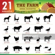 Twenty one Farm animal silhouettes