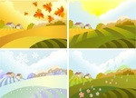 Snow,Four Seasons,Outdoors,Landscape - Scenery,Agricultural Field,Vector,Sky,Leaf,Harvesting,House,Flower,Summer,Sun,Mountain,Winter,Autumn,Bush,Rain,Illustration,Clip Art,Nature,2015,Hill,Springtime