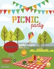 Heat - Temperature,Food,Stove,Nature,Vacations,Picnic,Party - Social Event,Old-fashioned,Summer,Hamburger,Barbecue,Illustration,No People,Vector,2015,