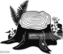 Black Color,Tree Stump,Outd...