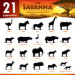 Twenty one Savanna animal silhouettes