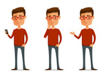 Men,Telephone,Thinking,Cartoon,Characters,Cute,Vector,Humor,Casual Clothing,Mobile Phone,Ilustration,People,Showing,Male,Isolated,Eyeglasses,Nerd