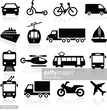 Montage of transport icons including planes cars and boats