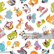 Cartooned colorful pattern of animals