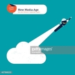 Businessman with bulb rocket taking off from a cloud