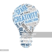 Light bulb made out of creativity and inspiration keywords