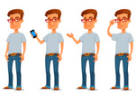Casual Clothing,Humor,Telephone,Eyeglasses,Mobile Phone,Intelligence,Adult,Young Adult,Cut Out,Illustration,Cartoon,Nerd,Males,Men,Vector,Characters,Wireless Technology,Beautiful People,2015,104872