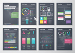 Colorful flat infographic templates on black background