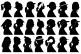 Curve,People,Black Color,Cap - Hat,Cut Out,Hat,Vector,Human Body Part,Silhouette,Bandana,Human Hair,Profile View,Women,Adult,Long Hair,Headscarf,Human Face,Illustration,Design,Females,Side View,Human Head,Collection,Image Montage,White Color,Shape,Variation,2015,Individuality