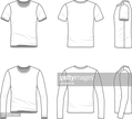 Simple outline drawing of a men's blank t-shirt and tee
