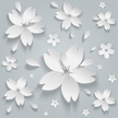 Paper flowers abstract seamless pattern