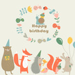 Child,Holiday - Event,Celebration,Cap - Hat,Rabbit - Animal,Animals In The Wild,Animal,Vector,Greeting,Birthday,Flower,Hare,Squirrel,Teddy Bear,Decoration,Bird,Cute,Wreath,Party - Social Event,Illustration,Fox,Baby Rabbit,Balloon,2015,Circle,Bear,Snail,Cupcake