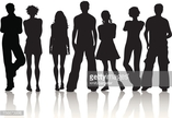 Adolescence,Youth Culture,People,Casual Clothing,Group Of People,Young Adult,Vector,Silhouette,Teenage Girls,Men,Women,Adult,Males,Illustration,Females,Teenager,Friendship,Teenage Boys,Relaxation