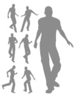 Male,Silhouette,Stepping,Th...