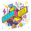 Vector illustration of bright creative and idea quote on abstract