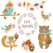 Nature,Animal Wildlife,Animal,Plant,Animals In The Wild,Bird,Thanksgiving,Bear,Squirrel,Hedgehog,Owl,Branch,Leaf,Season,Acorn,Autumn,Mushroom,Pumpkin,Fun,Orthographic Symbol,Berry Fruit,Cut Out,Cute,Illustration,Cartoon,Young at Heart,Vector,Characters,Collection,Thank You,White Background,2015,Design Element,268399,268299