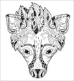 Close-up,Bizarre,Africa,Safari,Doodle,Animal Wildlife,Animal,Cute,Zoology,Cheerful,Tropical Rainforest,Hyena,Coloring,Illustration,Nature,Zoo,2015,Cultures,Isolated,Dog,Drawing - Activity,Forest,Fun,Vector,Tattoo,Bad Posture