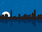 Boston,Urban Skyline,Night,...