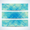 Blue set of vector banners. Background with blue triangles. Web