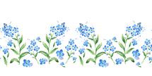 Forget-me-not seamless watercolor horizontal border. Seamless floral frame