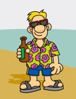 Cartoon,Men,Beach,Hawaiian ...