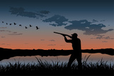 Hunting,Duck,Silhouette,Sho...