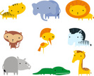 Jungle animals themes icon set
